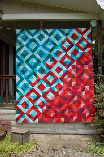 Lava Meets Sea Quilt Top - simple blocks and good planning make up this Intricate and interesting quilt