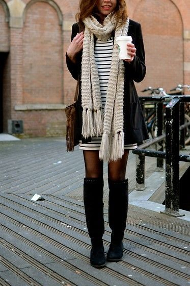 Striped dress + black cardigan + scarf + tights + over the knee black boots  Winter outfit