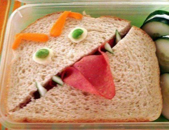Monster Sandwich.. this would be cute in the teachers lounge too! LOL