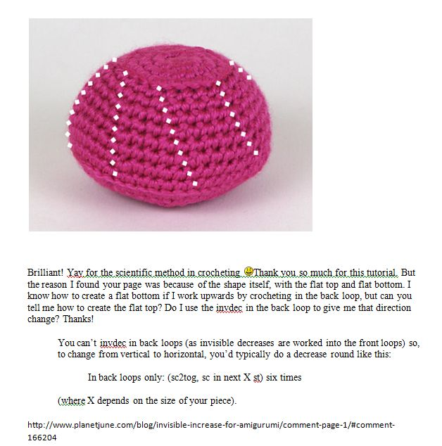 Invisible Increase For Amigurumi : How to make the flat top and bottom ball http://www ...