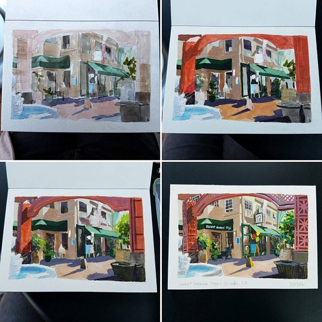 In case anyone is curious on my gouache process, this is how I painted this scene. I do a light wash first to get a base of where I want to place my colors, then I map out shadow values/colors and then light values/colors as I get more opaque. I make sure to keep shadows and lights separate to prevent accidental muddiness. Finally I add finishing details. #process #gouache #demo #art #pleinair #painting #travel #sketch #Orinda