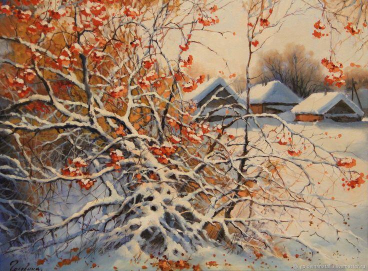 Купить Картина маслом, зимний пейзаж, Калина красная в интернет магазине на Ярмарке Мастеров