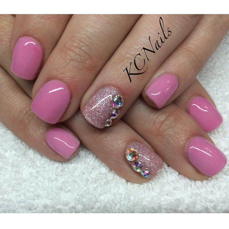 Pale pink acrylic overlay, glitter accent nail with Swarovski crystals  KCNails