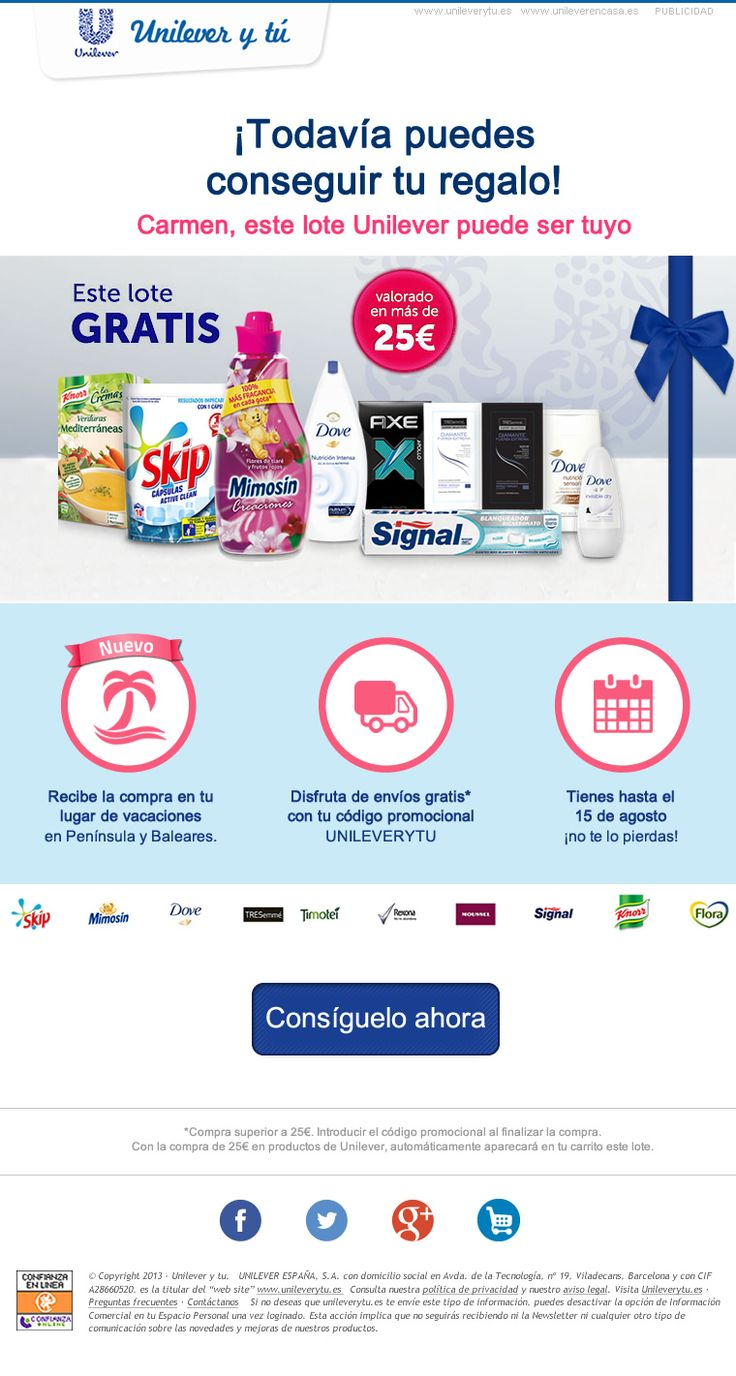 UNILEVER · Unilever y tú · Special offer during July & August in the Unilever Spain Online Store · Reminder e-Mailing · August 2014