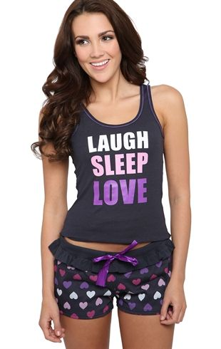 Deb Shops Pajamas Set with Laugh Sleep Love Print