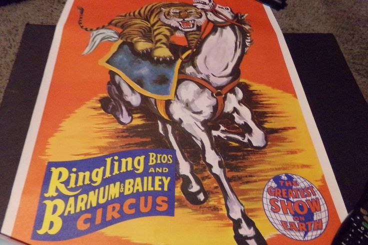 Vintage Ringling Brothers & Barnum Bailey Circus Poster Lion Riding Horse