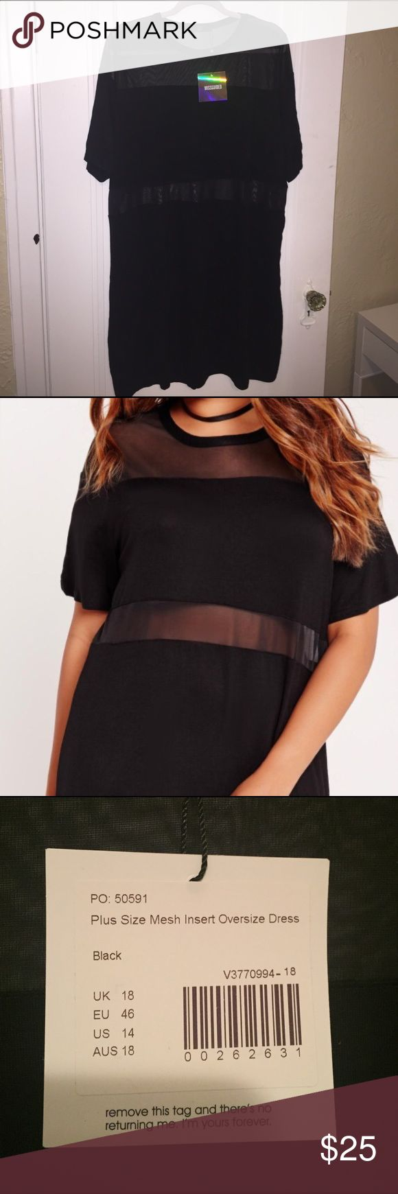 Missguided Mesh Insert Oversized Dress NWT! Missguided Plus Size Mesh Insert Oversized T-Shirt Dress Missguided + Dresses