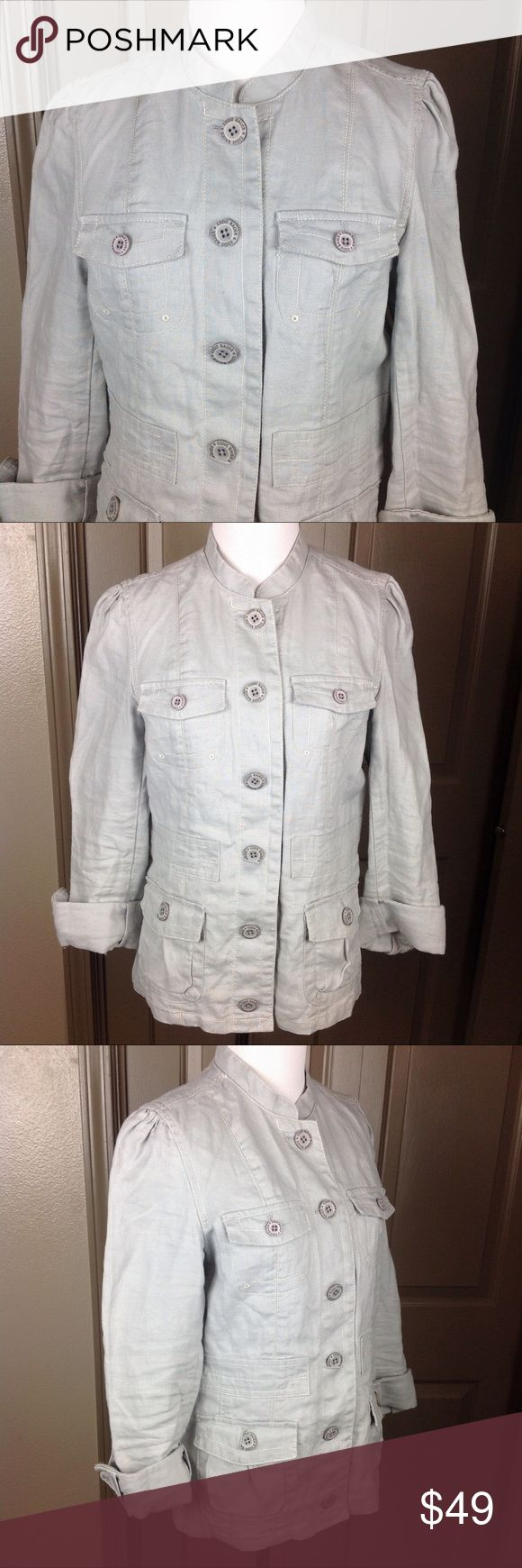 Eddie Bauer Med 100% Linen Safari Jacket Silver Great Condition Eddie Bauer Med 100% Linen Safari Jacket Silver button Down 4 Pocket adjustable Sleeves 24 inch length 19 inch across bust Eddie Bauer Jackets & Coats Utility Jackets
