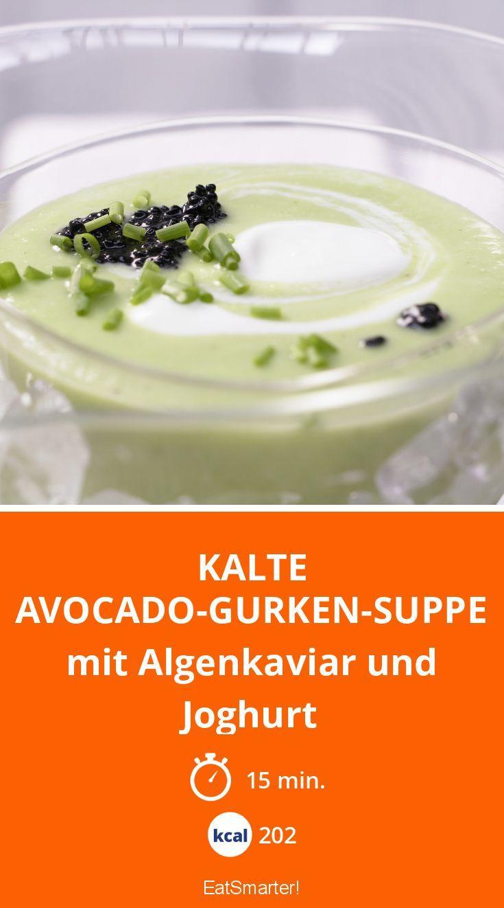 Kalte Avocado-Gurken-Suppe - mit Algenkaviar und Joghurt - smarter - Kalorien: 202 Kcal - Zeit: 15 Min.   eatsmarter.de