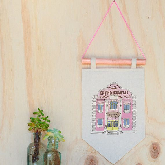 The Grand Budapest Hotel art print on Etsy - Wes Anderson illustration wall art print, wall hanging, pennant flag, flag banner