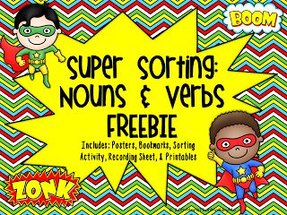 FREE nouns and verbs activity set.  Students will have a blast sorting words with these super heros!  21 pages of activities, posters, printables, and more.