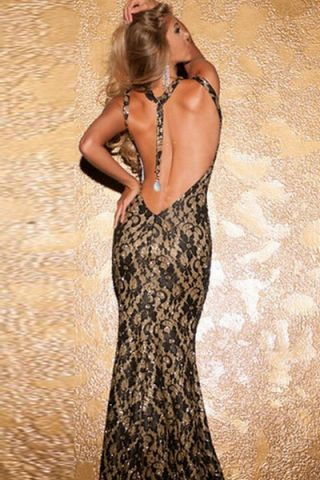 Black Metallic Lace Evening Gown R895.00