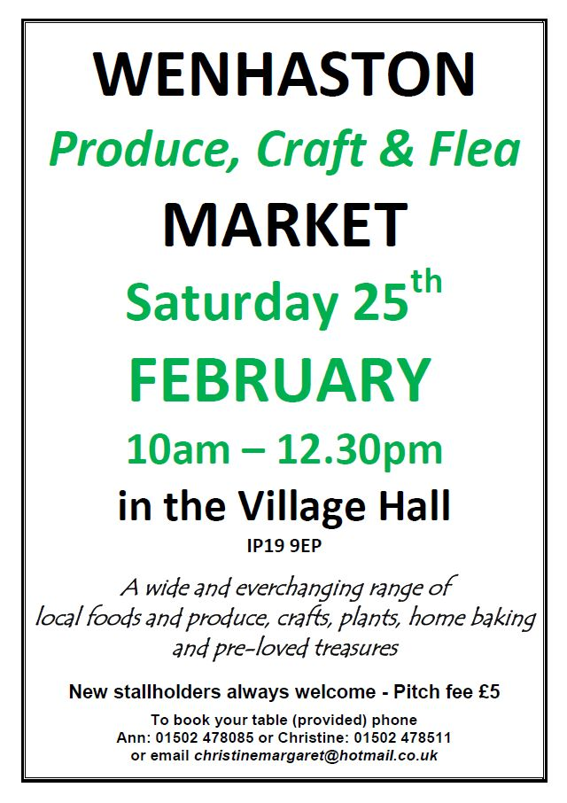 Date For Your Diary: Saturday 25 February 10am - 12:30pm. Produce, Craft & Flea Market. Wenhaston Village Hall. Just All Good Things will be here selling goodies... BUT stock is limited so you'd better get there early!! :D xxx