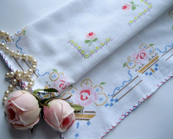 Cross Stitched Doily Centerpiece Shabby Chic by mailordervintage, $12.10