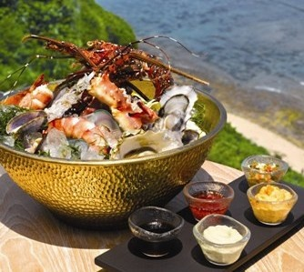 Seafood Tower is one of favorite cuisine in Ju ma na Restaurant, at Banyan Tree, Bali - Indonesia.