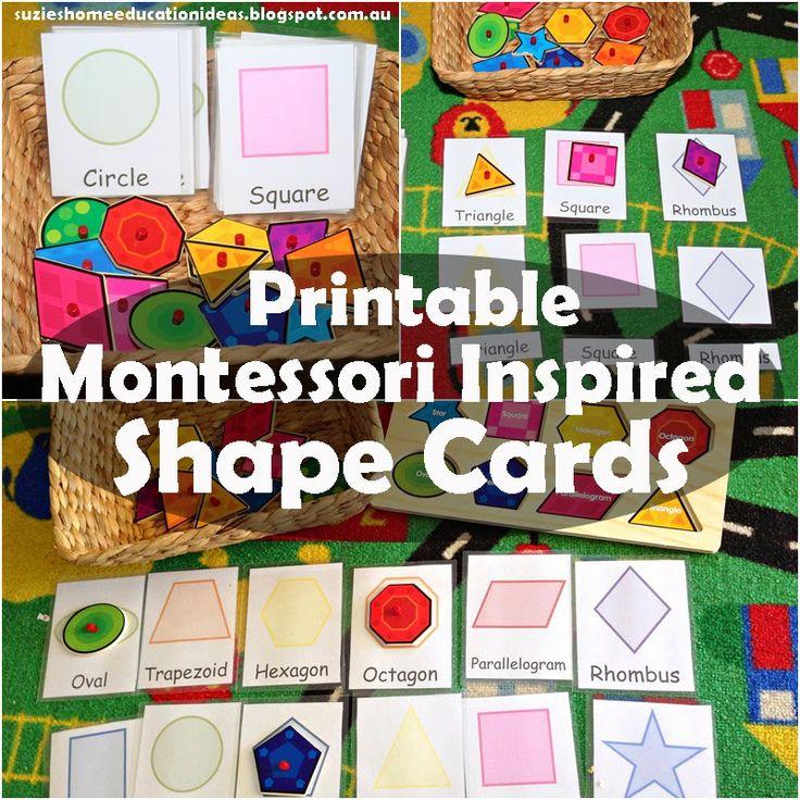 Suzie Strona główna Edukacja Montessori Zainspirowany Pomysły: Kształt - KARTY do Druku