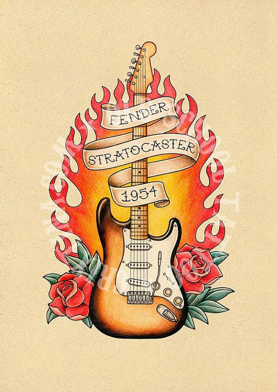 Fender Stratocaster Guitar Old School Tattoo Print