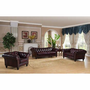 Xavier Burgundy 3-piece Top Grain Leather Living Room Set