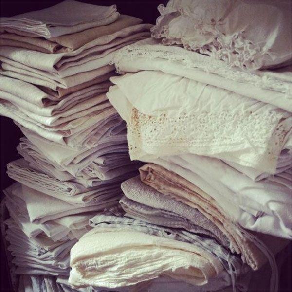 piles of cotton napkins