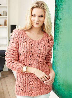 Gratis strikkeopskrifter: Strikket sweater i en smuk sommernuance. Designet kræver en vis portion tid og strikkeerfaring, til gengæld er resultatet helt i topklasse med de smukkeste snoninger i flere varianter