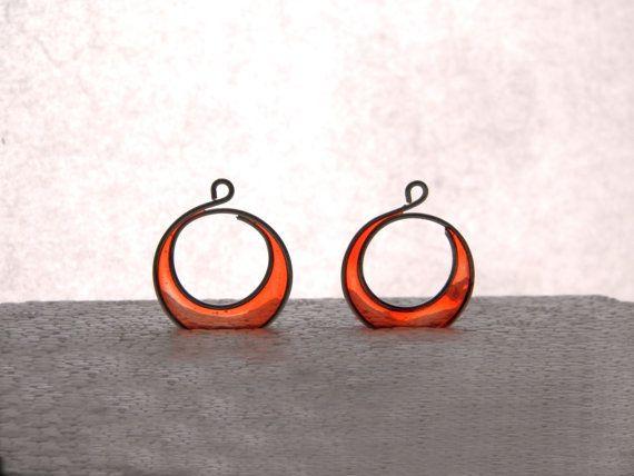 Crescent earrings halfmoon wire resin dangles by TheHappyLollipop