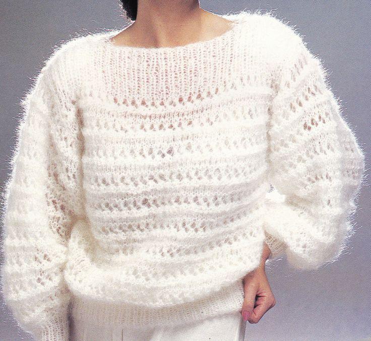 Vintage Knitting Pattern Instructions to Make Ladies Slash Neck Jumper Sweater