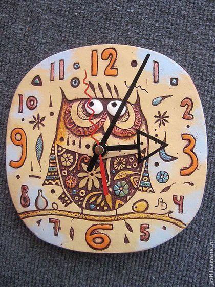 """керамическая настенные часы """"Сова"""""""