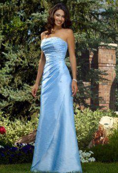 A-Line/Princess Strapless Floor-Length Taffeta Bridesmaid Dresses