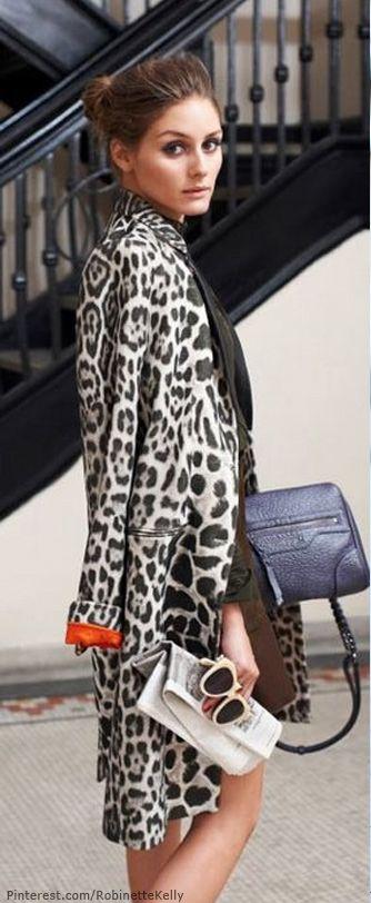 #street #fashion Olivia Palermo leopard print coat @wachabuy