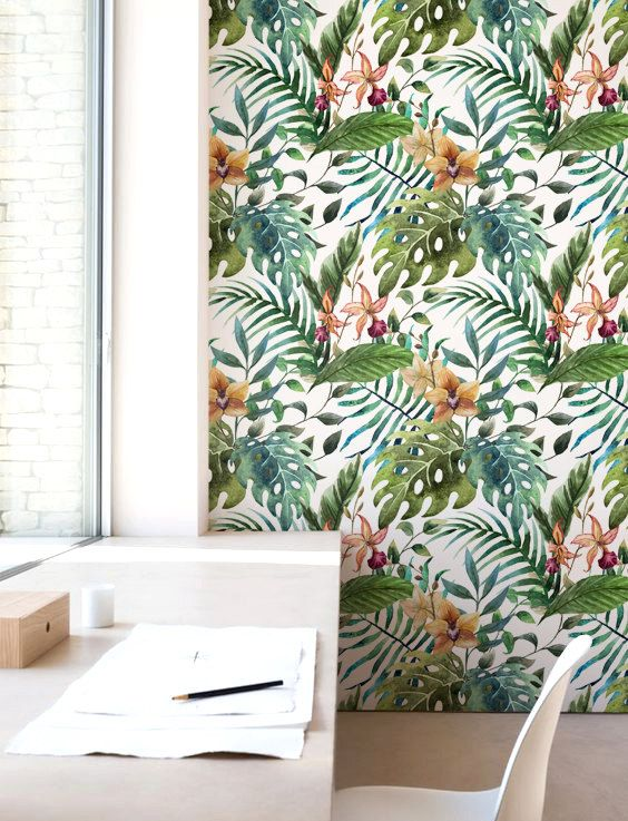 Floral Wall Décor, Jungle leaf Wallpaper, Removable Wallpaper, Self-adhesive Wallpaper, Jungle Wallcovering - JW008