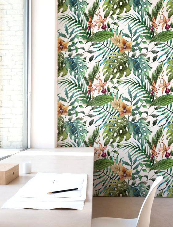 Decoración floral de la pared selva la hoja de papel por Jumanjii