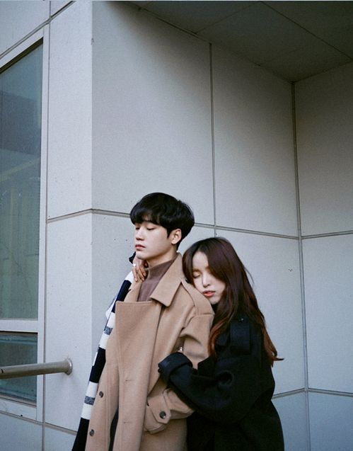 Cute Korean Couple Dressed for Winter