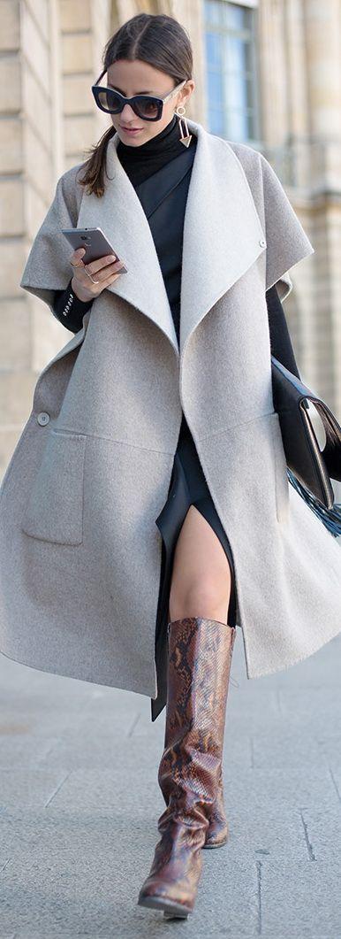 Dress: Keepsake, Sweater: Zara, Boots: Kurt Geiger, Bag: PG, Sunglasses: Celine, Coat: Tibi