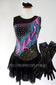 カラフルポップなアクセントカラー!グローブ付き/大会用フィギュアスケート衣装/FRY-281ブラック/スケートコスチュームDD