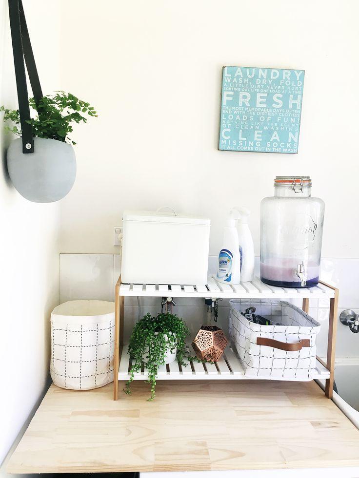 Laundry Kmart inspired  Washing shoe rack basket plant gold beach