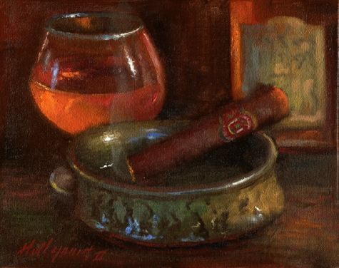 Hennessy+Whiskey+with+Cigar,+Classical+Realism,+painting+by+artist+Hall+Groat+II