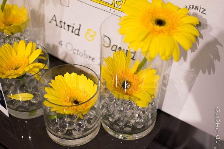Billes d 39 eau gerbera et billes d 39 eau pour composition for Composition florale table