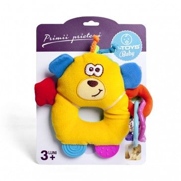 """Jucăria de pluș """"Ursuleț"""" este un ursuleț confecționat din pluș fin cu forme geometrice din plastic atasate.  Ursulețul poate fi pus pe mâna sau bratele bebelușului, sau poate fi montat pe diferite obiecte."""