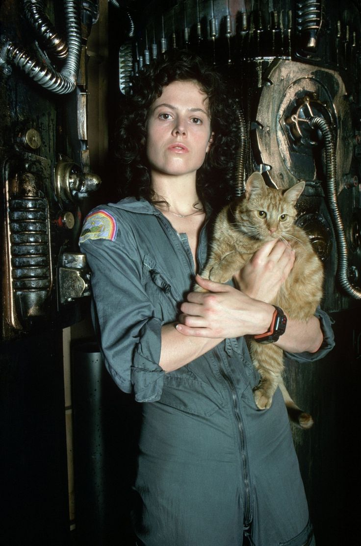 Sigourney Weaver as Ripley, the Warrant Officer aboard the Nostromo and Jones, the damn cat. (Alien)