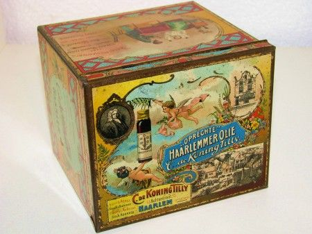 A very sparse Dutch medical Tin from- C. de Koning Tilly, Haarlem , it contained Haarlemmer Olie, (oil from Haarlem) a sirup against all kinds complaints, date, 30ties and in my Collection, tin is not is such mint condition as on picture but nevertheless very displayble and for sale