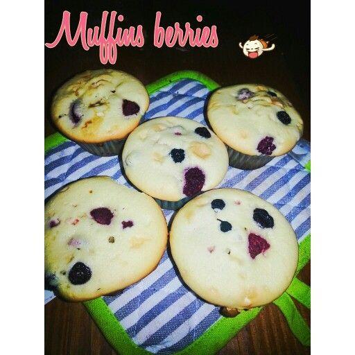 Muffins de berries arandanos-frambuesa.