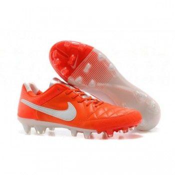 Nike Soccers Tiempo Legend V FG Crimson Orange White Silver Stylish