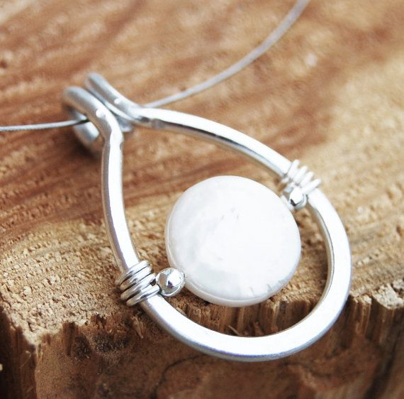 Aluminum Necklace. Minimalist. Silver. Coin. Pearl. Drop. Wire Jewelry.
