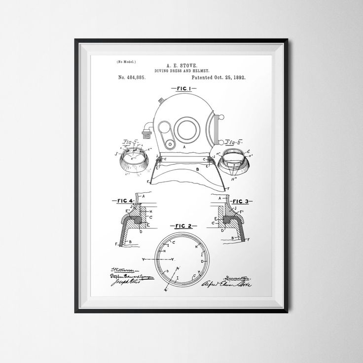 Nautical print dive helmet patent print marine diver instant download vintage illustration