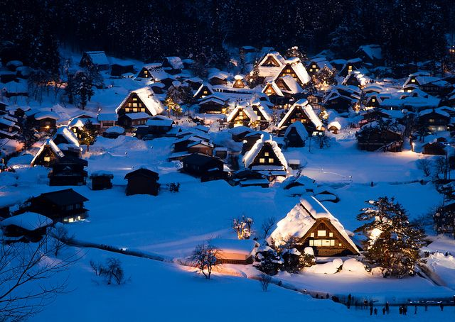 Historic villages of Shirakawa-go.  Located in a mountainous region that was cut off from the world for a long period of time.