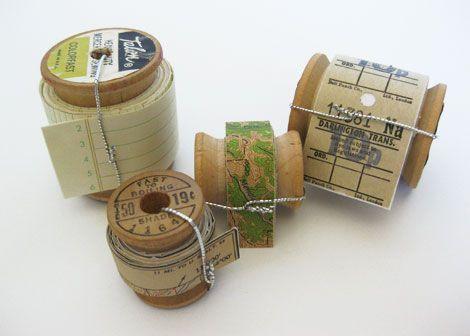 rolls of paper tape with vintage maps, ledger paper and an old train ticket roll.