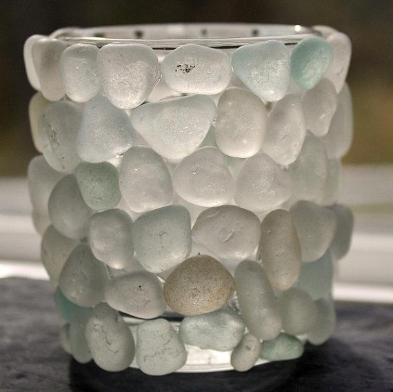 sea glass sea glass candle holder