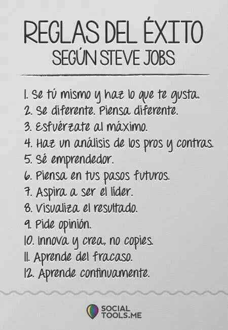 Ser exitosa, y estar dispuesta a aprender de mis logros y fracasos. Reglas del éxito según Steve Jobs. Emprendedores exitosos.