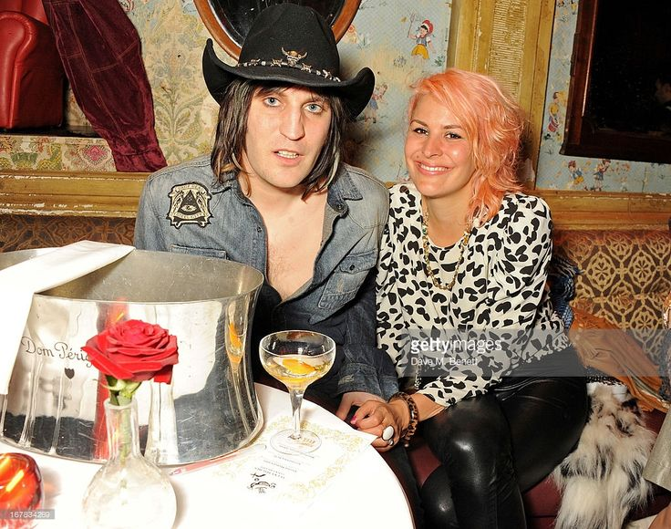 Noel Fielding (L) and Lliana Bird attend Fran Cutler's surprise birthday party supported by ABSOLUT Elyx at The Box Soho on April 30, 2013 in London, England.