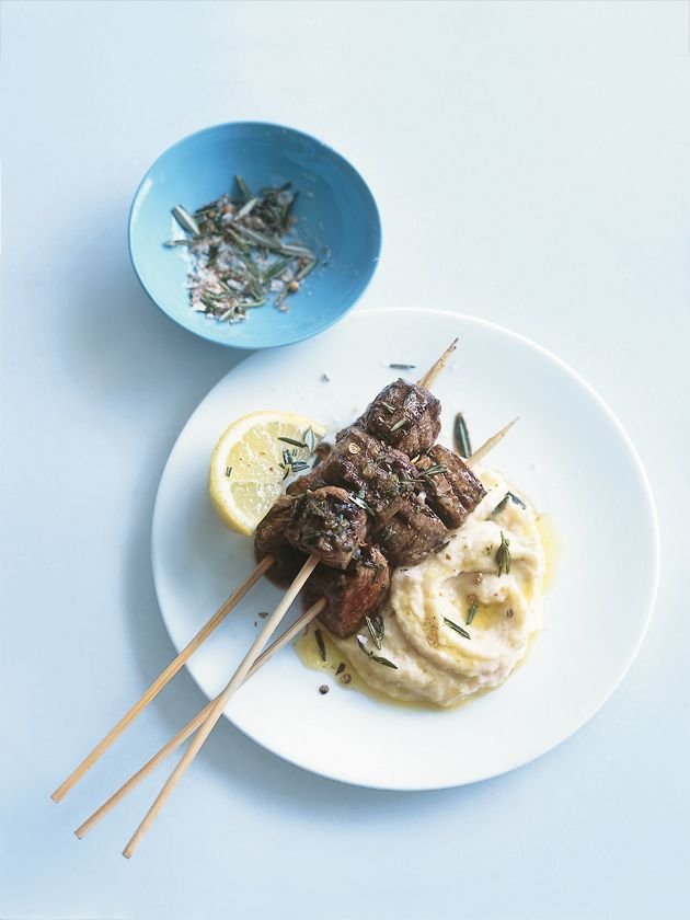lamb and rosemary skewers with white bean purée